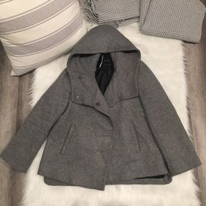 Zara Basic Gray Metal Button Hooded Jacket Peacoat